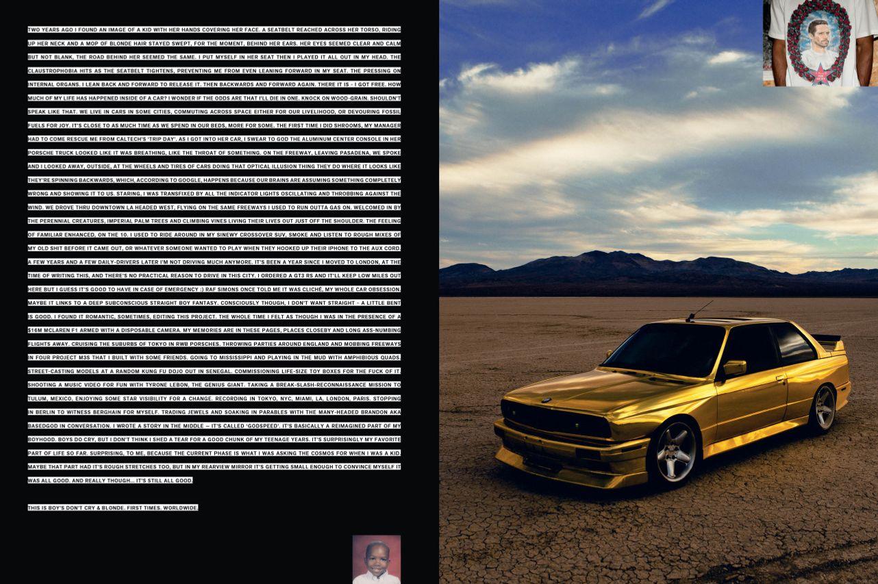 Frank Ocean Posts Car-Themed Essay From Boys Don't Cry Magazine