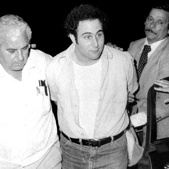 Police Headquarters, 1 Police Plaza. Police officials bring in handcuffed Son-of-Sam suspect David Berkowitz to side entrance of Police Headquarters.