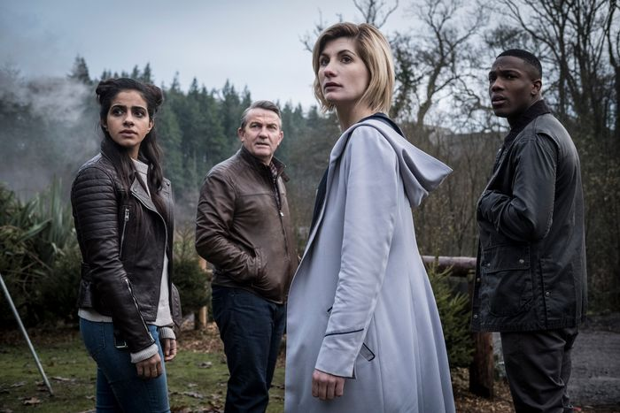Mandip Gill as Yasmin, Bradley Walsh as Graham, Jodie Whittaker as The Doctor, and Tosin Cole as Ryan.