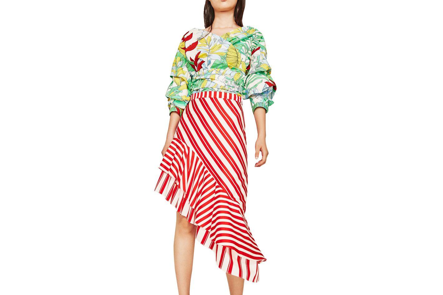 Zara Striped Skirt With Frill