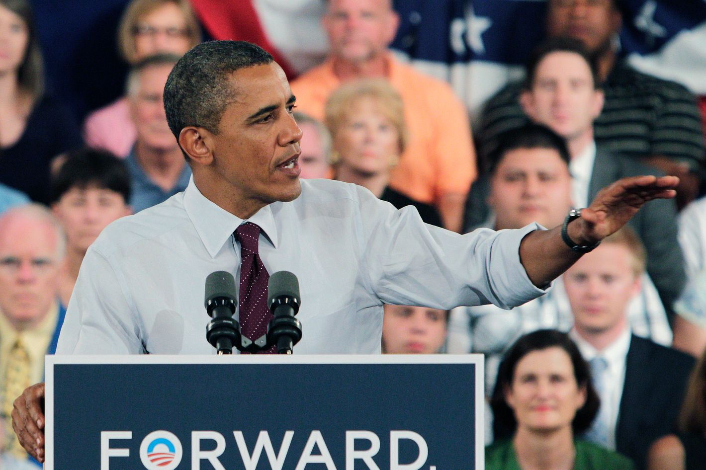 CINCINNATI, OH - JULY 16:  U.S. President Barack Obama speaks about the economy during a campaign event July 16, 2012 in Cincinnati, Ohio.  Obama discussed his plan to restore middle class security by paying down our debt in a way that ensures everyone pays their fair share and still invests in the things we need to create jobs and grow our economy over the long term.  (Photo by Jay LaPrete/Getty Images)