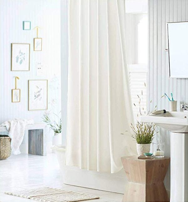 Liba PEVA Antimicrobial PVC Free Shower Curtain Liner, White Fabric