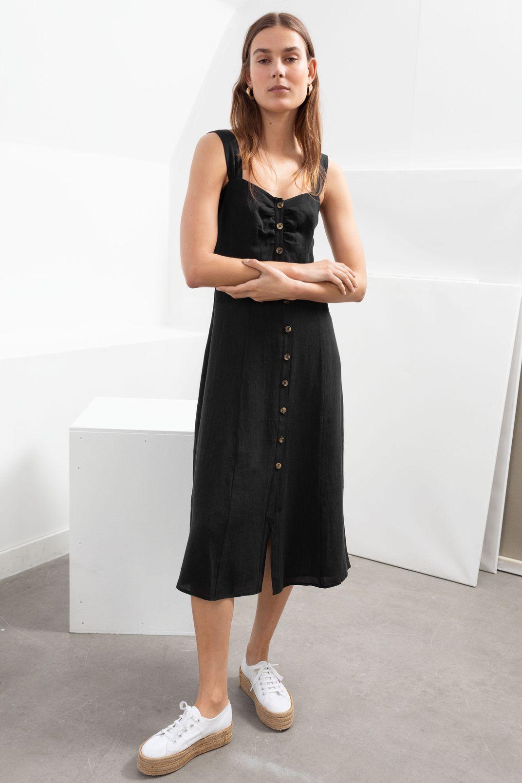 & Other Stories Linen Blend Midi Dress