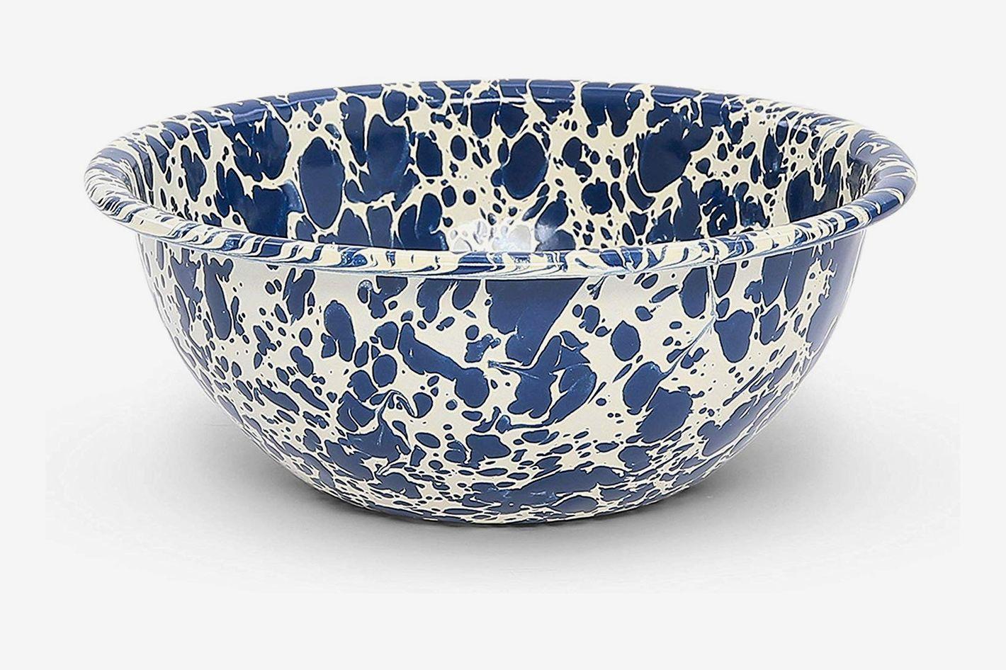 Crow Canyon Home Enamelware Bowl, Navy/Cream Splatter (Set of 4)
