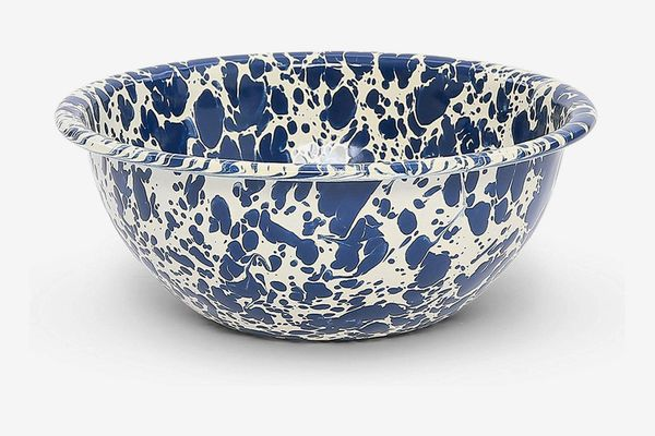 Crow Canyon Home Enamelware Bowl, Navy/Cream Splatter (Set of 4)
