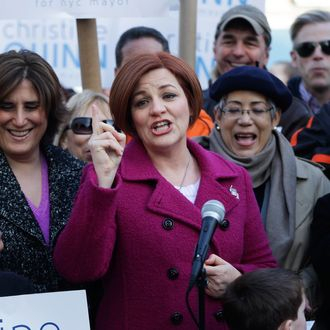 New York City Council speaker and mayoral hopeful Christine Quinn, center, speaks to the media as she announces her mayoral run in New York, Sunday, March 10, 2013.