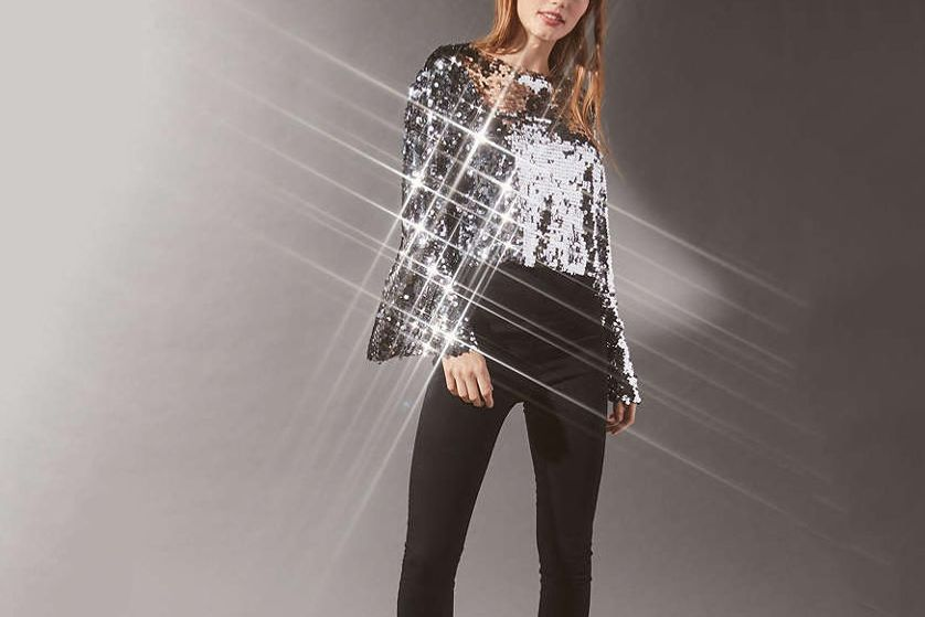 UO Sequin Bell Sleeve Top