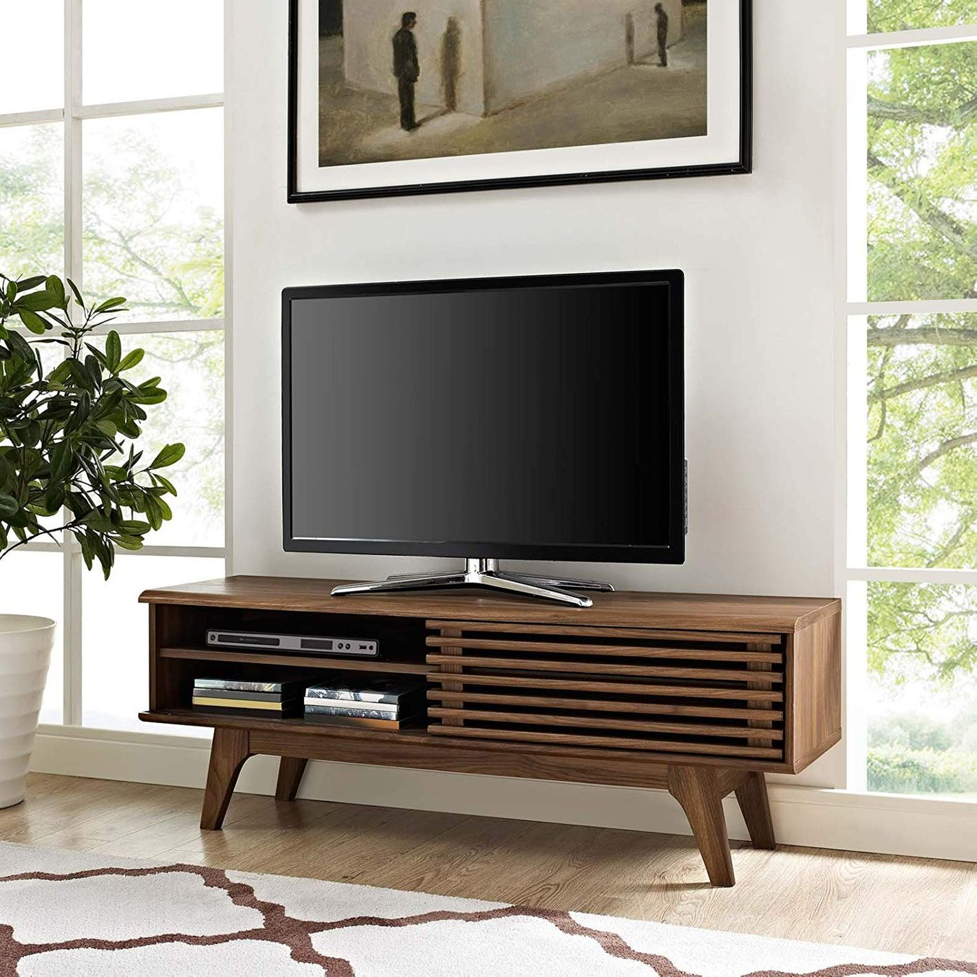Modway Render Mid-Century Modern Low Profile 44 Inch TV Stand in Walnut
