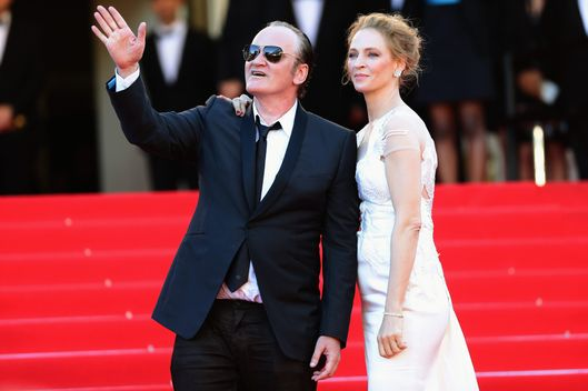 "Quentin Tarantino and Uma Thurman attend the Closing Ceremony and ""A Fistful of Dollars"" screening during the 67th Annual Cannes Film Festival on May 24, 2014 in Cannes, France."