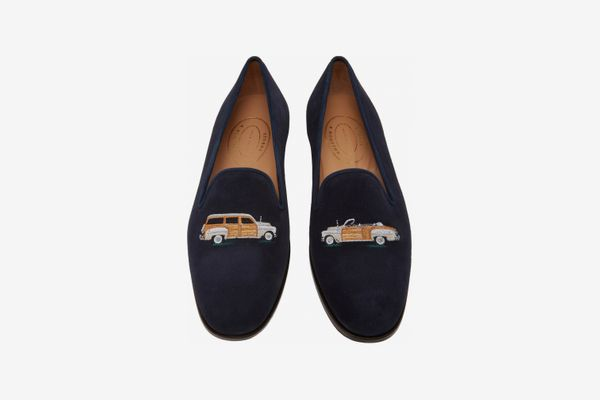 Stubbs & Wootton Men's Woody Embroidered Suede Loafers