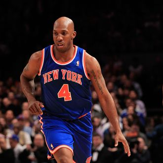NEW YORK, NY - FEBRUARY 23: Chauncey Billups #4 of the New York Knicks dribbles the ball against the Milwaukee Bucks at Madison Square Garden on February 23, 2011 in New York City. NOTE TO USER: User expressly acknowledges and agrees that, by downloading and/or using this Photograph, User is consenting to the terms and conditions of the Getty Images License Agreement. The Knicks defeated the Bucks 114-108. (Photo by Chris Trotman/Getty Images)