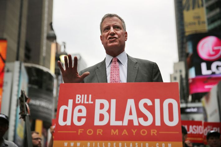 NEW YORK, NY - AUGUST 12:  Public Advocate and New York City Mayoral candidate Bill de Blasio speaks at an endorsement in Times Square by Local 802, which represents musicians playing in Broadway musicals, the Metropolitan Opera, the New York Philharmonic, and other musical ensembles on August 12, 2013 in New York City. De Blasio responded to the federal court ruling this morning that has called New York City's stop-and-frisk policies unconstitutional by saying that he agrees with the judgement.  (Photo by Spencer Platt/Getty Images)