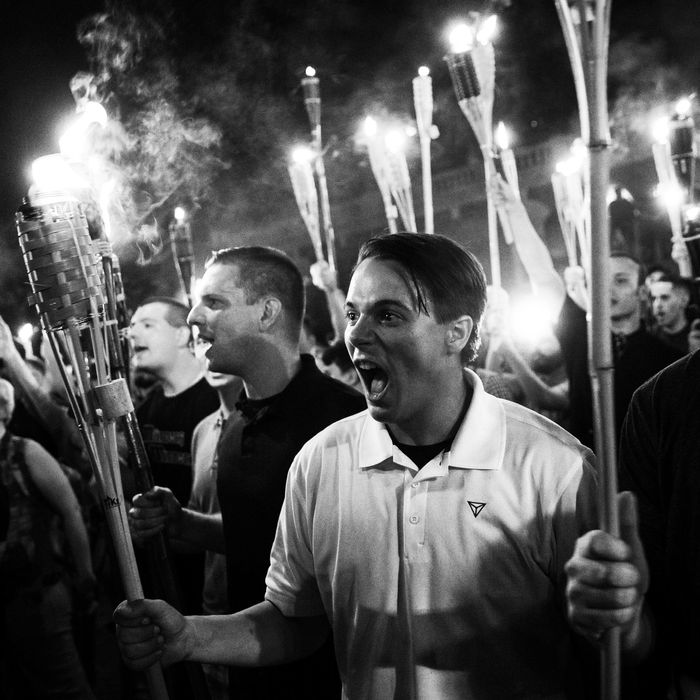 White supremacists rallying in Charlottesville.