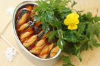 Maiden Lane's canned mussels in escabeche sauce.