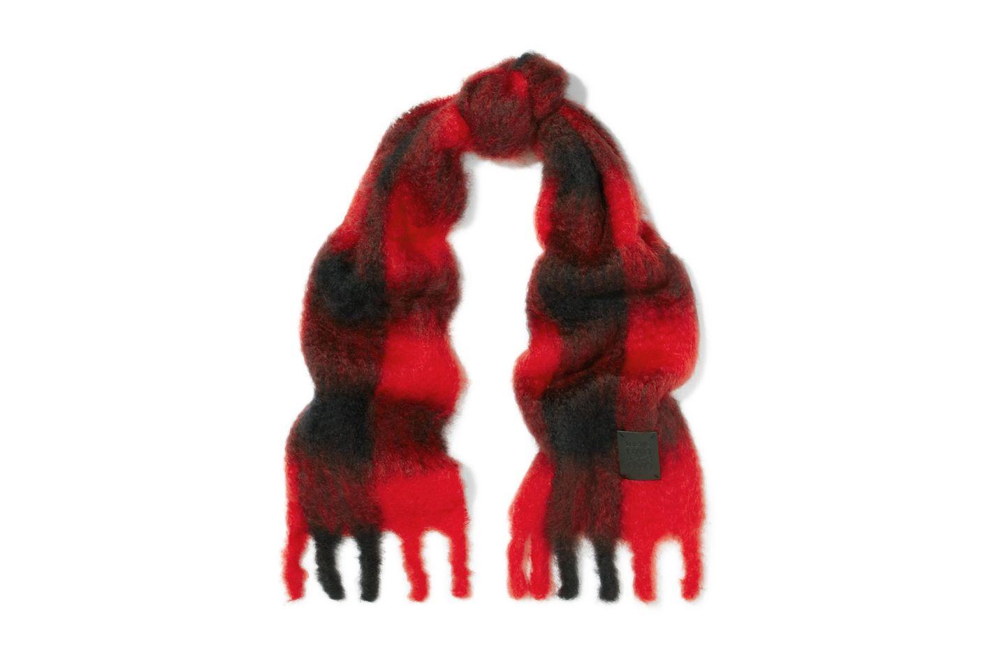 LOEWE Plaid mohair and wool-blend scarf