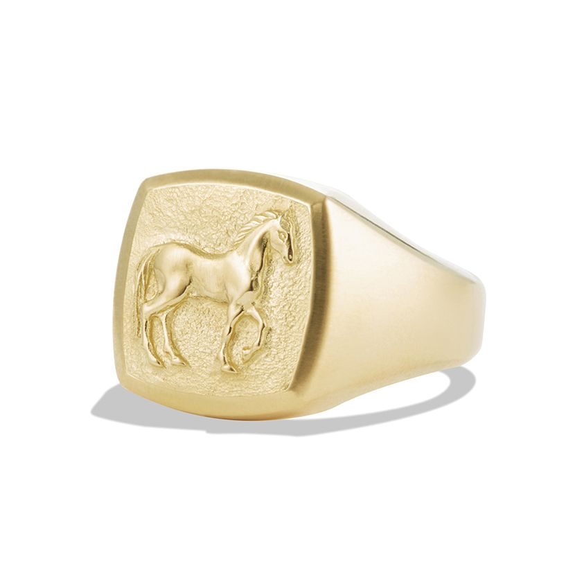 Petrvs® Small Horse Pinky Ring in 18K Yellow Gold