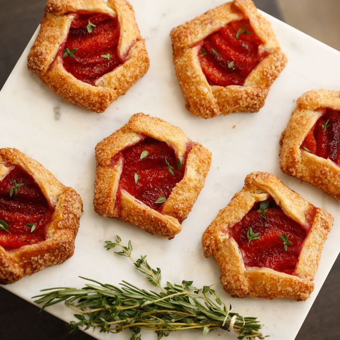 Blood-orange galettes with thyme.