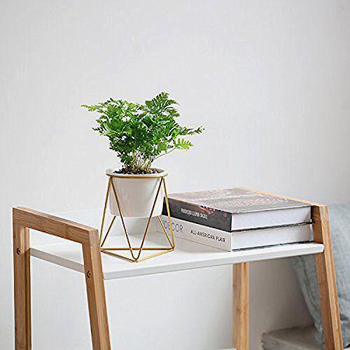 Mkono Ceramic Planter With Metal Stand