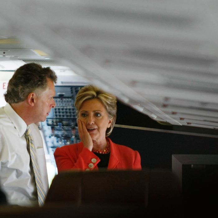 CHARLESTON, WV - MAY 13: Democratic presidential hopeful U.S. Senator Hillary Clinton (D-NY) talks with her campaign chairman Terry McAuliffe on her campaign plane as she prepares to fly to her primary night event at the Charleston Civic Center May 13, 2008 in Charleston, West Virginia. Senator Barack Obama, (D-IL) and Senator Hillary Clinton (D-NY) continue the Democrats battle for their party's presidential nomination. (Photo by Joe Raedle/Getty Images) *** Local Caption *** Hillary Clinton;Terry McAuliffeion