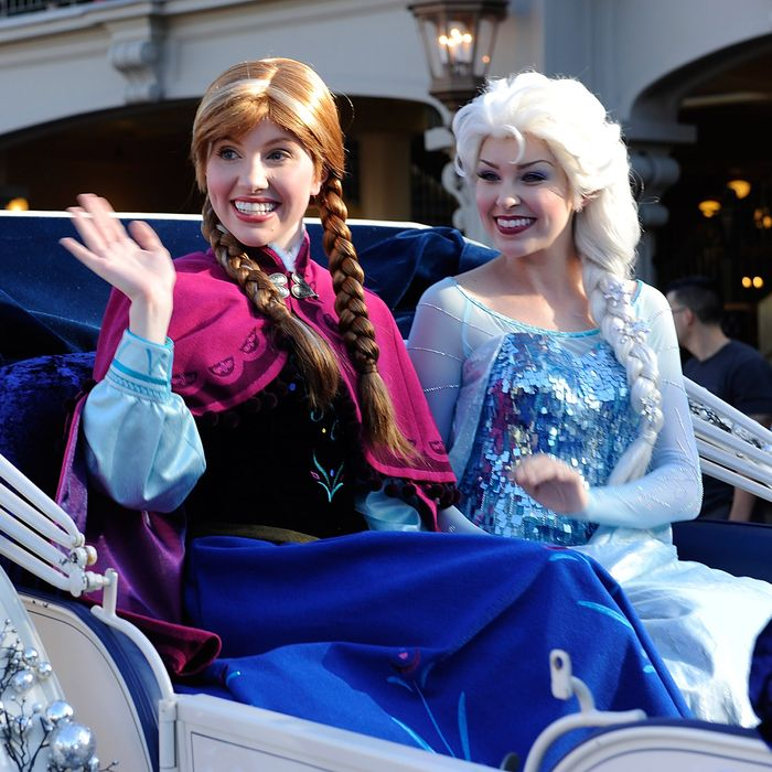 Anna and Elsa, who needs a girlfriend. Photo: Mark Ashman/Disney Parks via Getty Images