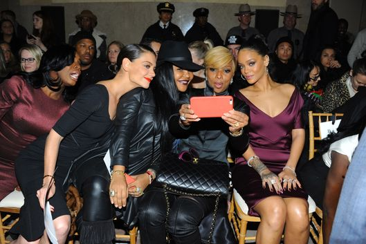 Katie Holmes, ?, Mary J. Blige, Rihanna==ZAC POSEN Fall 2015 Fashion Show==Vanderbilt Hall, NYC==February 16, 2015==?Patrick McMullan==Photo - Paul Bruinooge/PatrickMcMullan.com== ==