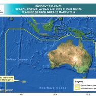 INDIAN OCEAN - This handout Satellite image made available by the AMSA (Australian Maritime Safety Authority) shows a map of the planned search area for missing Malaysian Airlines Flight MH370 on March 20, 2014. Two objects possibly connected to the search for the passenger liner, missing for nearly two weeks after disappearing on a flight from Kuala Lumpur, Malaysia to Beijing, have been spotted in the southern Indian Ocean, according to published reports quoting Australian Prime Minister Tony Abbott. (Photo by AMSA via Getty Images)