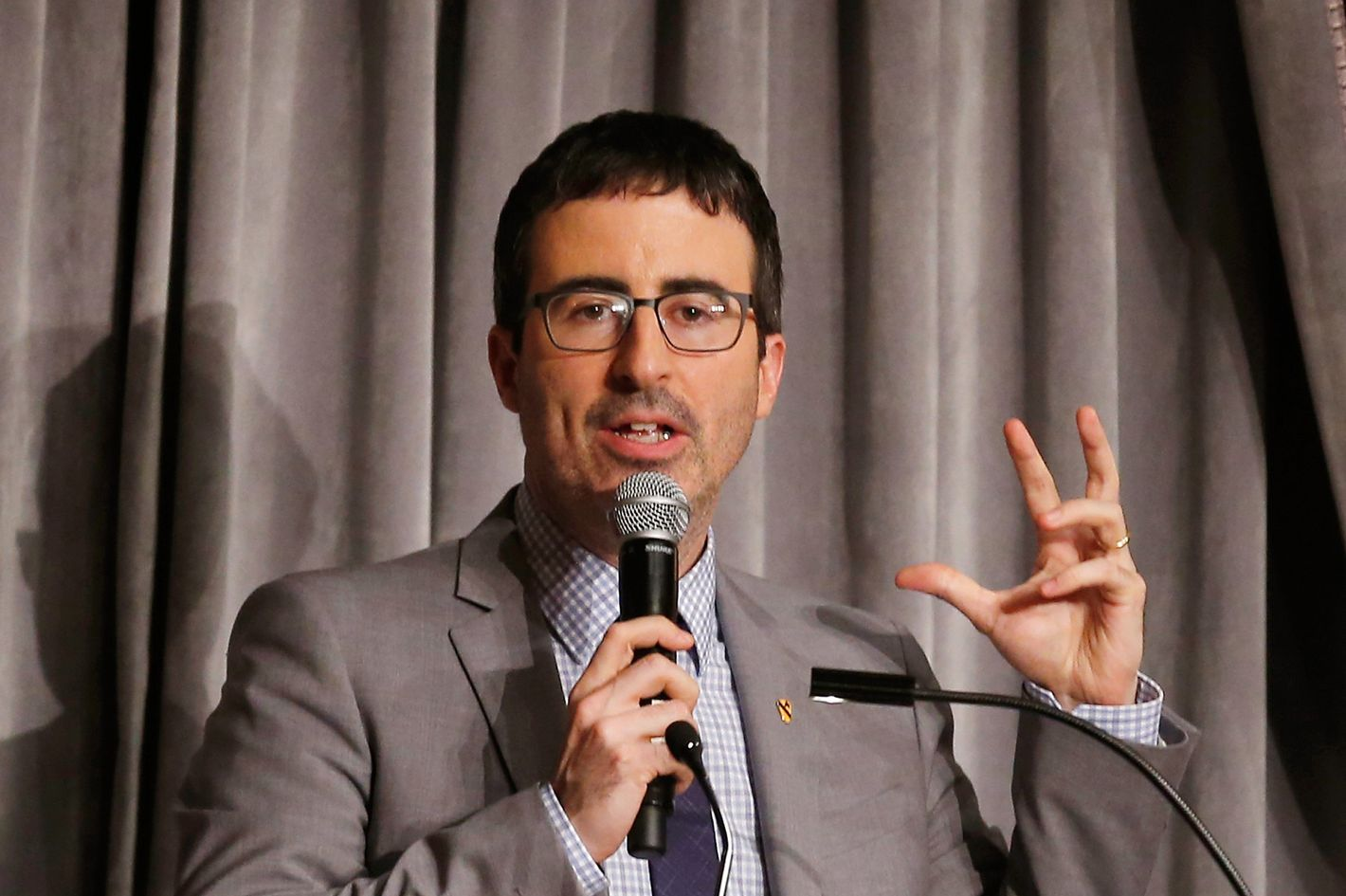 John Oliver speaks at the Museum Of The Moving Image Honors Richard Plepler & Charlie Rose at Saint Regis Hotel on June 11, 2014 in New York City.