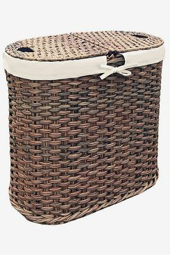 Seville Classics Handwoven Oval Double Laundry Hamper in Mocha