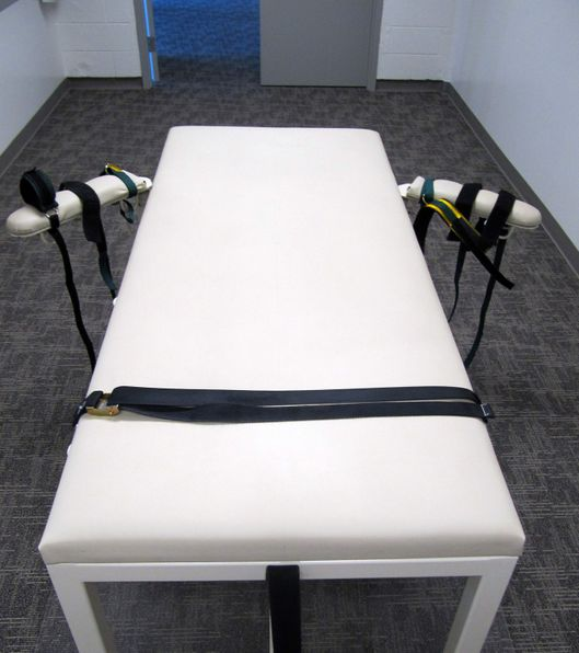 The execution chamber at the Idaho Maximum Security Institution is shown on Thursday, Oct. 20, 2011 in Boise, Idaho. Paul Ezra Rhoades, who was convicted of killing three people in Idaho Falls and Blackfoot in 1988, is scheduled to be executed by lethal injection on Nov. 18, 2011. (AP Photo/Jessie L. Bonner)