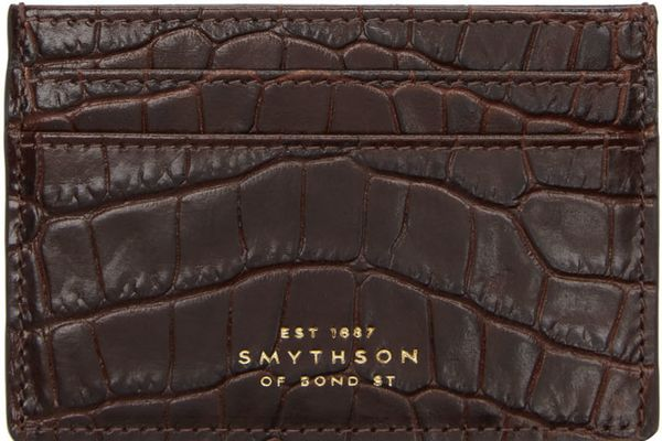 Smythson Burgundy Croc Mara Card Holder