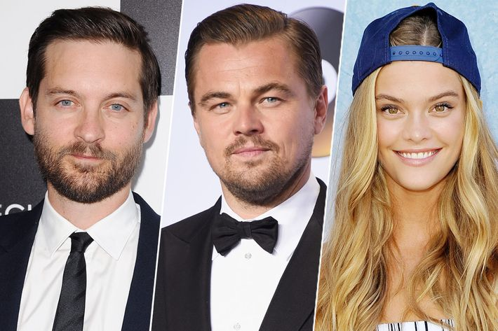Tobey Maguire, Leo DiCaprio, and Nina Agdal.