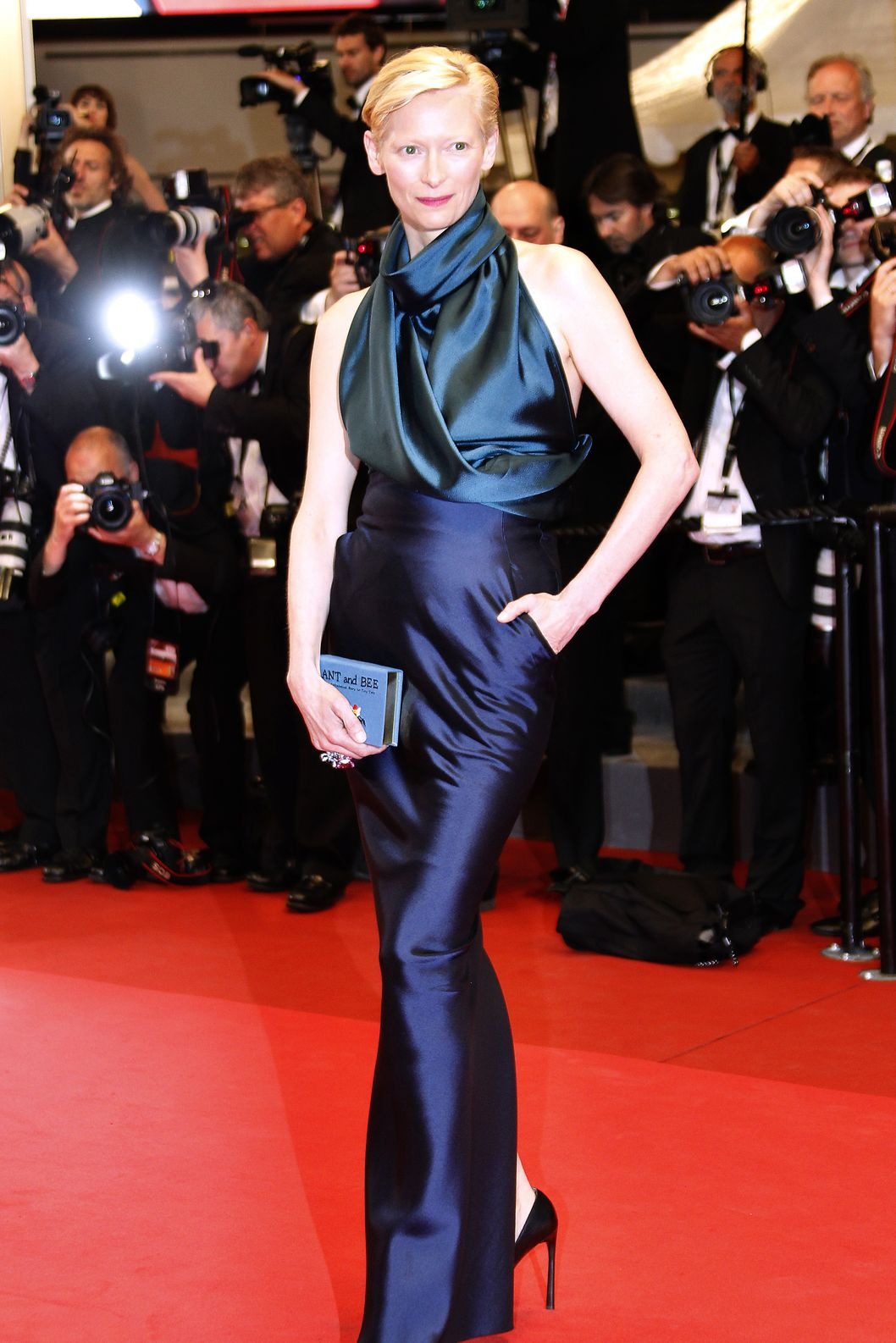 "British actress Tilda Swinton poses on the red carpet before the screening of ""We Need to Talk About Kevin"" presented in competition at the 64th Cannes Film Festival on May 12, 2011 in Cannes.  AFP PHOTO / FRANCOIS GUILLOT (Photo credit should read FRANCOIS GUILLOT/AFP/Getty Images)"