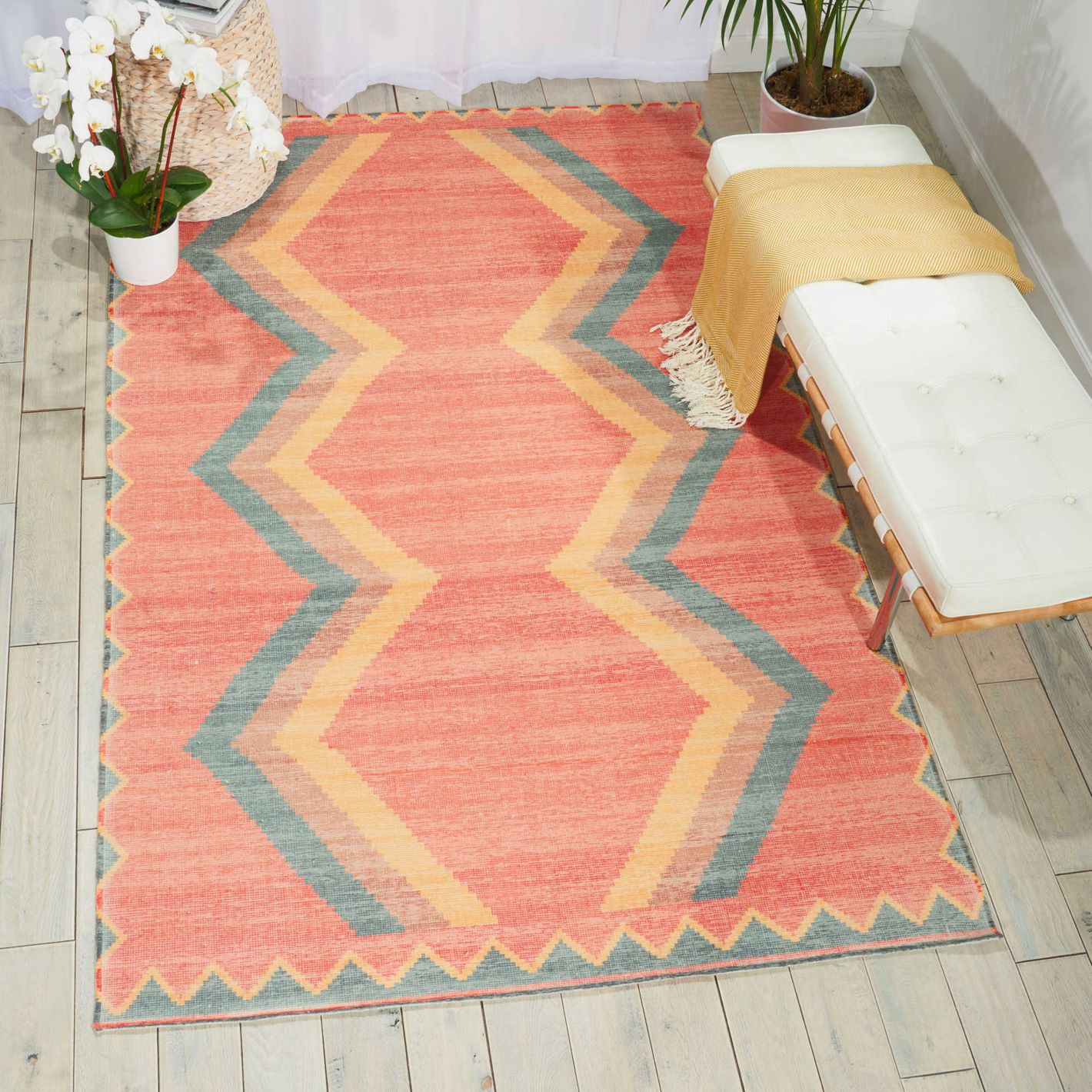 Nourison Madera Woven Area Rug in Tangerine
