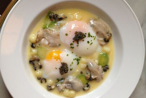 Maison Premiere's poached oysters and eggs.