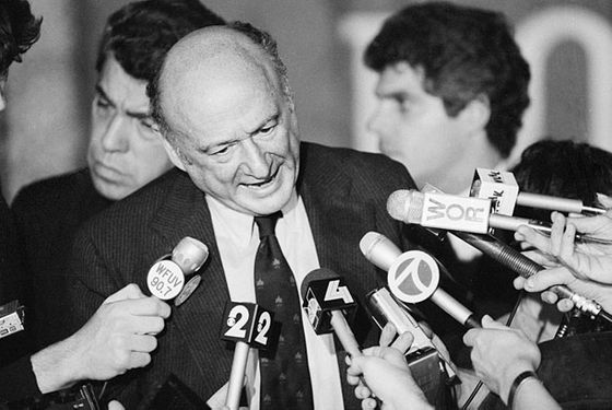 Ed Koch Addressing Reporters --- Image by © Bettmann/CORBIS