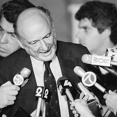 Ed Koch Addressing Reporters --- Image by ? Bettmann/CORBIS