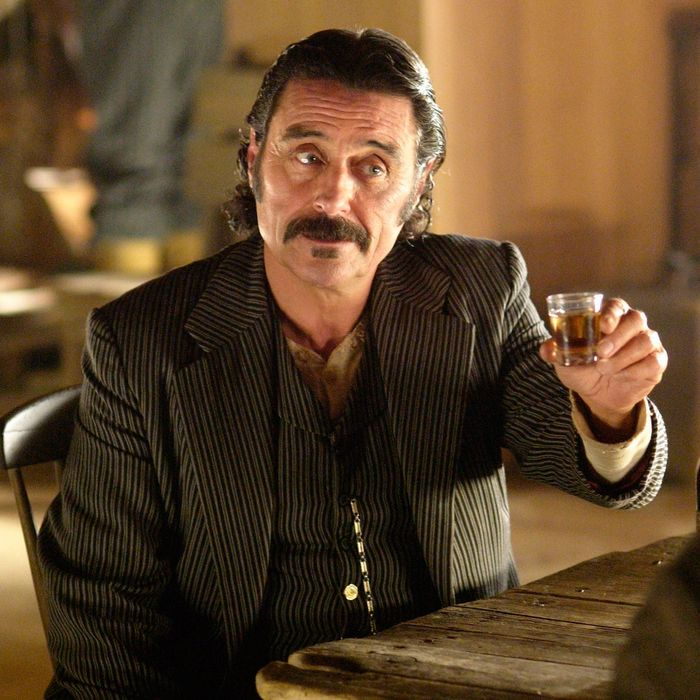 Ian McShane as Al Swearengen on <em>Deadwood</em>.