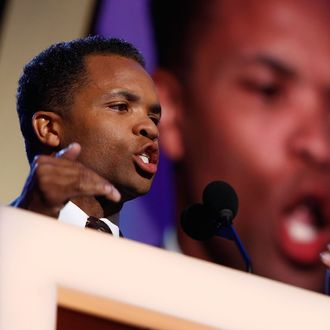 DENVER - AUGUST 25: U.S. Rep. Jesse Jackson Jr. (D-IL) speaks during day one of the Democratic National Convention (DNC) at the Pepsi Center August 25, 2008 in Denver, Colorado. The DNC, where U.S. Sen. Barack Obama (D-IL) will be officially nominated as the Democratic candidate for U.S. president, starts today and finishes August 28th. (Photo by Chip Somodevilla/Getty Images)