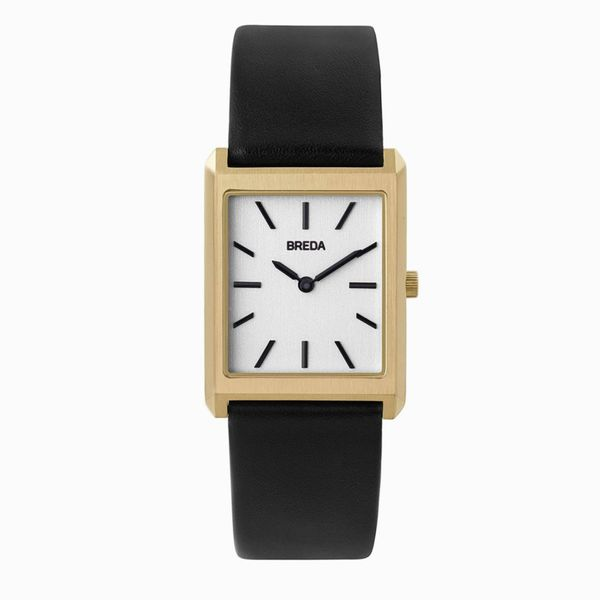 Breda Virgil 1736 Square Wrist Watch with Genuine Leather Band