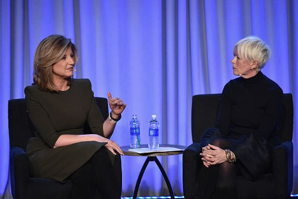 Arianna Huffington talks with Joanna Coles at the American Magazine Media Conference. Photo: Larry Busacca/Getty Images for Time Inc.