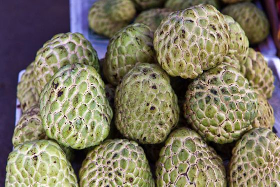 A common and popular fruit in Mexico and Colombia, guanabana doesn't really grow here and isn't found often as an import. Also known as soursop, the guanabana's flavor is described as being some combination of strawberry and pineapple with a citrus tartness.