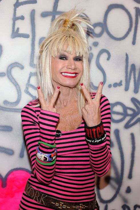 Fashion designer Betsey Johnson appears at the MAGIC clothing industry convention at the Las Vegas Convention Center as she promotes her Fall 2012 line on February 14, 2012 in Las Vegas, Nevada.