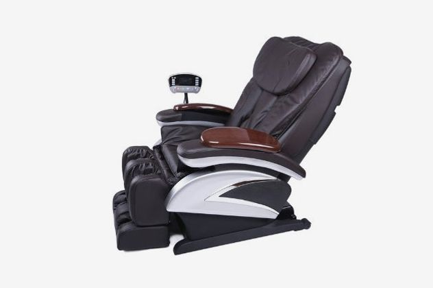 A black faux-leather massage chair with a steel-gray skeleton.
