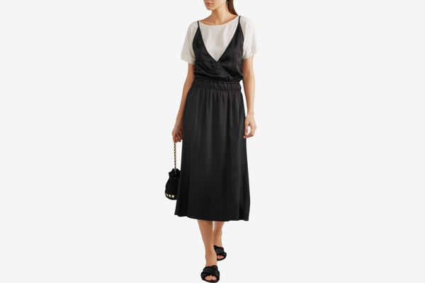 Vanessa Bruno Gala Crepe and Satin Midi Dress