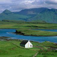 Lonely farm cottage, Canna Island, Inner Hebrides, Scotland
