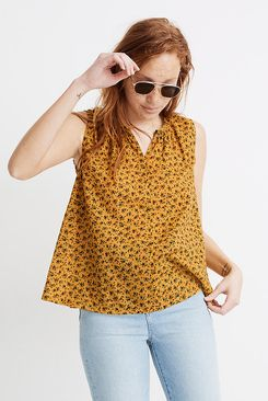 Madewell Shirred Shell Tank in Calico Floral
