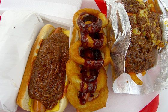 "<a href=""http://www.pinkshollywood.com/"">Pink's Hot Dogs</a> <i></i>  <i>Tom Bradley International Terminal/Food Court; 310-215-5147</i>  Save yourself from the eternal line at Hollywood's famous hot dog stand, as the airport version has the same monstrous creations without the time commitment. This small outpost of Pink's boasts all-beef jalapeño dogs, bacon-and-cheese topped Mullholland Drive dogs, guac-topped Ozzies, Polish dogs, chili dogs, veggie wieners, and even the hard-core belly bomb known as Pink's pastrami burrito."