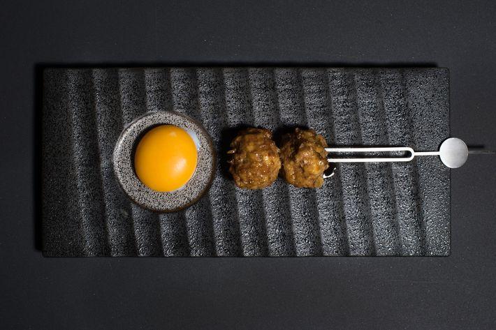 Tsukune: chicken meatball, egg yolk.