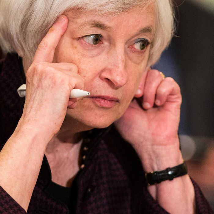 Federal Reserve Chair Janet Yellen listens to a presentation during a meeting of the Board of Governors of the Federal Reserve, Friday, Oct. 30, 2015, in Washington. The meeting was to discuss a proposed rule establishing total loss-absorbing capacity and long-term debt requirements for global systemically important banking organizations, as well as a final rule on margin and capital requirements for uncleared swaps of prudentially regulated swap entities. (AP Photo/Evan Vucci)