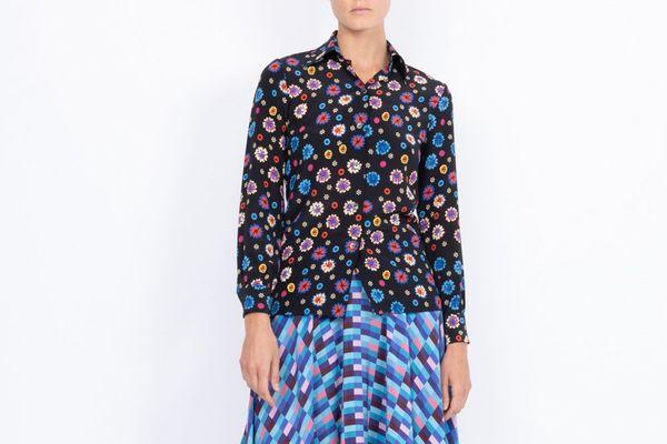 LHD Star Island Careyes Floral Print Black Blouse